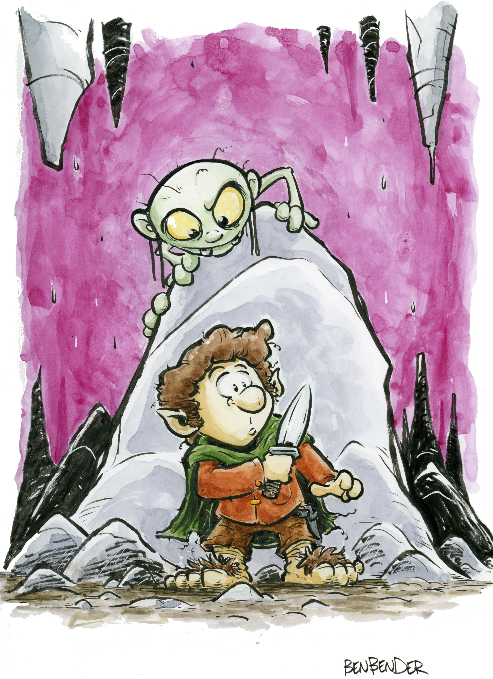 Bilbo and Gollum